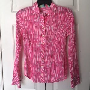 Lilly Pulitzer Cotton Button Down Shirt Pink White